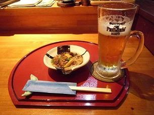 生ビールとお通し.jpg